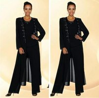 Wholesale elegent dress pictures for sale - Group buy 2018 Elegent Chiffon Mother Of The Bride Pant Suits Beaded Collar Long Sleeve Crew Black Women Dress Evening Dresses