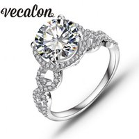 Wholesale Diamond Round Cut - Vecalon Real Round cut 3ct Simulated diamond Cz Engagement Wedding Band ring for Women 10KT White Gold Filled Female Party ring