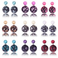 Wholesale Double Skull Earring - DHL Free Watermark Double Pearl Skull Earring Candy Spherical Earrings Stud Candy Ball Earrings New Fasion Jewelry For Women's