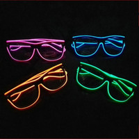 Wholesale el wire pc resale online - Fashion Plastic PC Eyeglass Luminous EL Wire LED Light Up Spectacles Reusable Colors Glasses For Bar Party Costume Decorations yy BZ