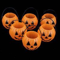 Wholesale Pumpkins Jack O Lanterns - Halloween Promotion 12PCS Vintage Pumpkin Jack O Lantern Light Goodie Bucke Halloween Bar Decoration Christmas Party Supplies Wholesale