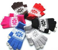 Popolare Warm Winter Thick Gloves Lana lavorato a maglia Donna Snow Flake Knit Inverno Smart phone Touch Guanti touchscreen Full Finger Mittens guanto