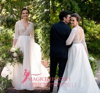 Wholesale Graceful Plus Size Wedding Dress - Graceful 2016 A-Line Wedding Dresses Deep V-Neck Bare Back 3 4Long Sleeve Crystal Ruffled Vintage Garden Beach Bridal Gowns Plus size