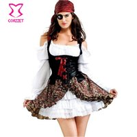 Wholesale Woman Adult Pirate Costume - Wholesale-Plus Size Adult Carnival Party Dresses Costume Women Pirate Dress Fantasia Outfit Feminina Halloween Sexy Cosplay Costumes