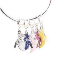 diy pulsera de cadena de bricolaje al por mayor-Comercio al por mayor de aleación de Metal Beads tacones altos Boots Crystal Rhinestone esmalte encantos para Pandora pulsera de cadena de moda DIY joyería