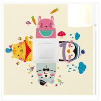 Wholesale Light Wall Sticker Switch Decoration - 500pcs Wholesale Colorful Cartoon Animal Eco Friendly Home Decoration Switch Sticker Wall Stickers For Kids Room ZA0640