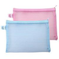 Wholesale Plastic Bag Yarn - Wholesale-A4,B5,A5 zipper Net Yarn plastic Document bag colored file holder pocket pouch pen bag stationery bag