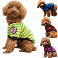 Wholesale 4 Colors Summer Casual Striped Chihuahua Dog T Shirt Cute Pet Cat Vests Puppy Dog Vest Clothes