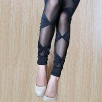 Wholesale Lace Slimming Pants For Women - Plus Size Bow Lace Leggings Super Stretch Bandage Skinny Pants Slimming Mesh Leggings for Women Female Sexy Elastic Leggins fish net skinny