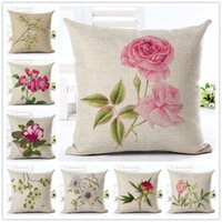 Wholesale Simple Linen Cushion Cover - Simple Pattern Colored Flowers Series Cotton Linen Cushion Cover New Style Pillowcase Home Decor Bed Car Throw Pillows Decorative Cojines