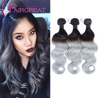 Wholesale Brazillian Hair Body Wave 1b - Gray brazilian body wave 3pcs lot ombre silver grey hair weave bundles 1b grey two tone Brazillian Virginn human hair extensions