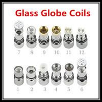 glass globe tank metal coil NZ - Metal Ceramic Coils For Glass Dome Atomizer Dual Cotton Titanium Wicks Wax Dry Herbal Glass Tank Glass Globe Bulb Replacement Coil Heads