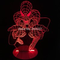 Wholesale Spider Light Bulbs - Free Shipping 1Piece 3D Bulbing Light Glowing Optical Illusion Versatile Spider Man Color Changing With Remote Control