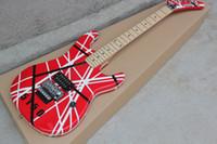 e-gitarre schwarzer tremolo großhandel-Benutzerdefinierte Seltene Gitarre Edward Van Halen 5150 Schwarz Weiß Streifen Rot E-gitarre Floyd Rose Tremolo Brücke Meistverkaufte