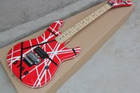 ingrosso chitarra elettrica tremolo nero-Chitarra Custom Rare Edward Van Halen 5150 Black White Stripe Chitarra elettrica rossa Floyd Rose Tremolo Bridge Top Selling