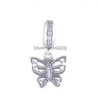 Wholesale vintage pave - Vintage Butterfly Charm Pendants Authentic 925 Sterling-Silver-Jewelry Pave CZ Charms Beads DIY Brand Logo Bracelets Accessories HB486