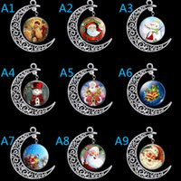 Wholesale Chain Necklaces Images - Fashioned Christmas gift wicca moon cabochon crystal necklace chain necklace flashy silver jewelry Vintage Santa Claus image necklace