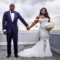 Wholesale designer short sexy wedding dresses for sale - Group buy 2018 Newest Mermaid Trumpet White Lace Off Shoulder Beach Plus Size Designer Summer Wedding Dresses Bridal Gowns