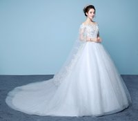 Wholesale Wedding Dresses Large Trains - vestido de novie 2017 new elegant lace embroidery long tail bride marry large size was thin wedding dress-y