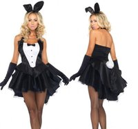 Wholesale Sexy Adult Costumes Animal - Wholesale-Sexy Halloween Adult Animal Costume Bunny Girl Rabbit Costumes Women Cosplay Fancy Dress Clubwear Party Wear sexy products set