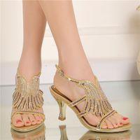 ingrosso tacchi alti prom-Estate donna sandali strass estirpare fiore moda oro color sandali tacco spesso open toe partito prom scarpe da sposa tacco