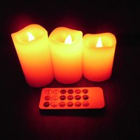 Wholesale Wholesale Tea Cup Candles - 3pcs Changed Color Remote Control Electric Candles Flameless Led Pillar Candle Cup Tea Light For Wedding Birthday Home Decor
