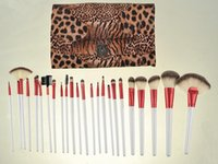 Wholesale Leopard Makeup Kit - 24Pcs Brand Makeup Brushes Set High Quality Pro Blush Foundation Powder Brush Kit Cosmetic Beauty Tools With Leopard PU Leather Bag Case