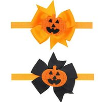 Wholesale Pumpkin Headbands - Halloween Baby Headband,Big Ribbon Bow Pumpkin Baby Girls headband ,Pumpkin Newborn headwraps ,Festival Toddler Hair Accessory