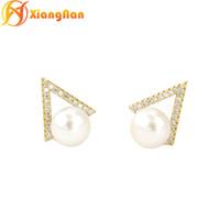 Wholesale Errings Silver - Beauty S925 sterling silver fashion pearls earrings brand errings freshwater pearls stud earring Steamed bread white pearl earring XN-PE008