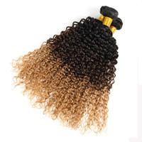 Wholesale brazilian girls curly hair online - CheaP Price Honey Blonde Tone Ombre Hair Weaves Brazilian Hair B Hair Bundles For Beauty Girl