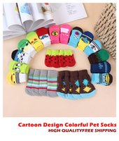 Wholesale Dog Shoes Wholesale - 1TOP SALE Lowest Price Cartoon Design Colorful Pet Socks Dog Socks dog Non-slip socks pet Anti-skid partic socks cat socks