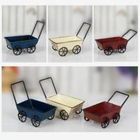 Wholesale Wrought Iron Garden Decorations - Vintage Wrought Iron Trolleys Mini Handmade Carts Miniature Fairy Garden Craft Home Decoration Storage Toys ZA4365