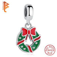 Wholesale Wreath Easter - BELAWANG 925 Sterling Silver Christmas Wreaths Dangle Charm Beads Fits Pandora Charm Bracelets&Bangles Jewelry Making for Christmas Gift