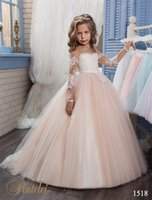 Wholesale Illusion Neckline Communion - Kids Wedding Dresses 2017 Pentelei with Illusion Long Sleeves and Strapless Neckline Appliques Tulle Blush Flower Little Girls Gowns