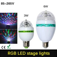 3w 6w E27 RGB Led Lamp Light Автоматическое вращение RGB Led Bulb Magic Stage Light 85-265V 110V 220V Disco DJ Party Holiday Dance Bulb
