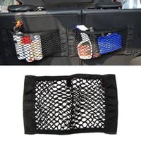 nylon elastisches netz großhandel-Universal Autositz Zurück Lagerung Elastische Mesh Net Bag Gepäck Halter Tasche Aufkleber Stamm Organizer Starke MagicTape Auto-styling
