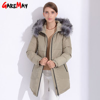 Wholesale Womens Cotton Parka Coat - Womens Parkas Winter Fur Jacket 2017 Plus Size Basic Hooded Jacket Coats For Women Manteau Femme Hiver Down Cotton Parka GAREMAY