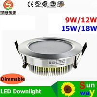 Wholesale Ceiling Downlights Led - 15W led downlights Recessed Downlights Ceiling light 9W 12W 15W 18W Dimmable 150 Angle Warm Cool White lamp sportlight flexible LED lighting