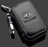 Wholesale Cars Key Leather Case - Car Key Case Premium Leather Car Key Chains for Hyundai with Holder Zipper Remote Wallet Bag Hyundai Remote Key Bag key cover accessories