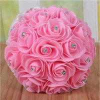 Wholesale Lowest Price Silk Flowers - Low Price Handmade Elegant Bridal Wedding Holding Flowers High Quality Simulation Roses Wedding Supplies Bouquet Free shipping