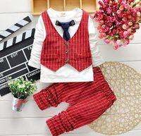 Wholesale Tie Outfits - HOT boys gentleman set 2-7Y Children's Autumn Suits clothes Outfits Tie Outfits Set 4 Colors for choose