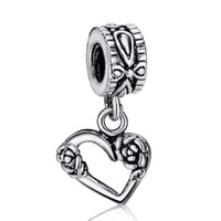 Wholesale Glass European Pendants - New Fashion Hollow Heart Flowers Pendant Charm 925 Sterling Silver European Charms Beads Fit Snake Chain Bracelets DIY Jewelry