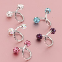 Crystal Ball S Spiral Twisted Lip Ring Ring Nez Oreille Cartilage Tragus Helix Earring 30pcs Piercing Bijoux de corps 16g
