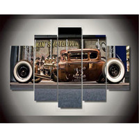 Wholesale Antique Impressionist Painting - Canvas Printings Antique Classic Car Painting Wall Art Home Decoration Poster Canvas Unframed Free shipping