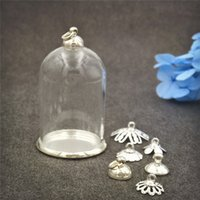Wholesale Vial Glass Pendant Tube Bottle - 10pcs lot 38*25mm tube glass globe bottle with silver findings set glass dome cover glass vial pendant charms handmade glass vial jewelry