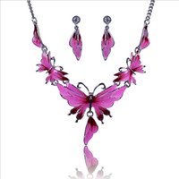 Wholesale Fluorescent Shorts Women - Collares Hot sale Texture Women Clavicle Chain Fluorescent Oil Drip Gilded Butterfly Short Necklace Earrings wedding jewelry set