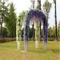 ingrosso viola fiori bianchi secchi-Glicine artificiale Romantico Fiori di seta Soggiorno Hanging Flower Plant Vine Home Party Wedding Simulazione Decor 12Pcs