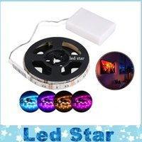 Wholesale Dc Bike Battery - 2016 Led Strips With Battery Powered 5050 RGB SMD LED Strip Light Kit WaterProof Strip for TV Cabinet Bike Outdoor Activities Decoration