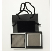 Wholesale Necklace Set Bag - 12sets lot fashion brand jewelry package set for earrings necklace paper black hand bags gift box display