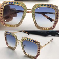 Wholesale Diamond Rectangle - new fashion women 0115 sunglasses 0115S color shiny diamond design square big antirust frame hot lady design UV400 lens with original case
